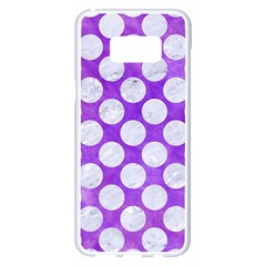 Circles2 White Marble & Purple Watercolor Samsung Galaxy S8 Plus White Seamless Case by trendistuff