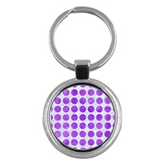 Circles1 White Marble & Purple Watercolor (r) Key Chains (round)  by trendistuff