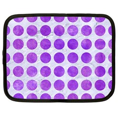Circles1 White Marble & Purple Watercolor (r) Netbook Case (large) by trendistuff