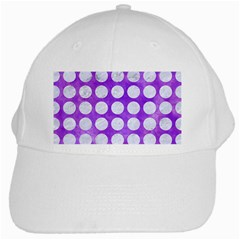 Circles1 White Marble & Purple Watercolor White Cap by trendistuff