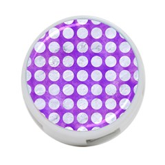 Circles1 White Marble & Purple Watercolor 4 Port Usb Hub (two Sides)  by trendistuff