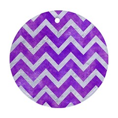 Chevron9 White Marble & Purple Watercolor Ornament (round) by trendistuff