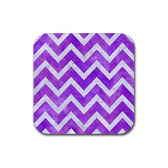 Chevron9 White Marble & Purple Watercolor Rubber Square Coaster (4 Pack)  by trendistuff