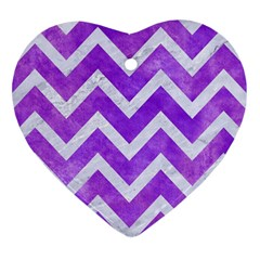 Chevron9 White Marble & Purple Watercolor Heart Ornament (two Sides) by trendistuff