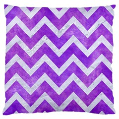 Chevron9 White Marble & Purple Watercolor Large Flano Cushion Case (two Sides) by trendistuff