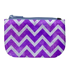 Chevron9 White Marble & Purple Watercolor Large Coin Purse by trendistuff