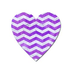 Chevron3 White Marble & Purple Watercolor Heart Magnet by trendistuff