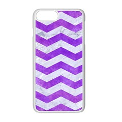 Chevron3 White Marble & Purple Watercolor Apple Iphone 8 Plus Seamless Case (white) by trendistuff