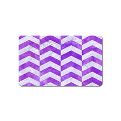 Chevron2 White Marble & Purple Watercolor Magnet (name Card) by trendistuff