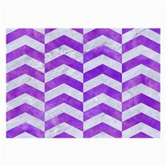 Chevron2 White Marble & Purple Watercolor Large Glasses Cloth by trendistuff