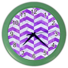 Chevron2 White Marble & Purple Watercolor Color Wall Clocks by trendistuff