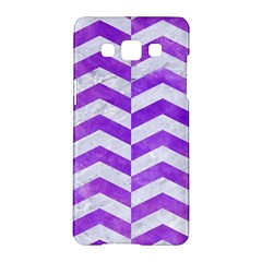 Chevron2 White Marble & Purple Watercolor Samsung Galaxy A5 Hardshell Case  by trendistuff