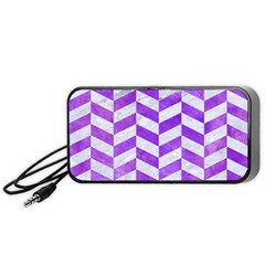 Chevron1 White Marble & Purple Watercolor Portable Speaker by trendistuff