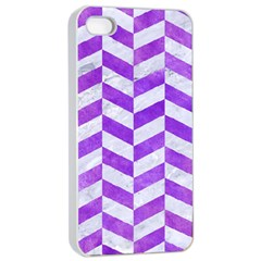 Chevron1 White Marble & Purple Watercolor Apple Iphone 4/4s Seamless Case (white) by trendistuff