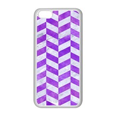 Chevron1 White Marble & Purple Watercolor Apple Iphone 5c Seamless Case (white)