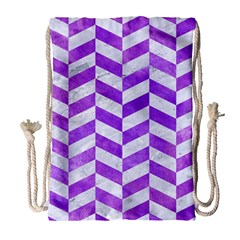 Chevron1 White Marble & Purple Watercolor Drawstring Bag (large) by trendistuff