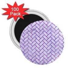 Brick2 White Marble & Purple Watercolor (r) 2 25  Magnets (100 Pack)  by trendistuff