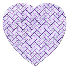 Brick2 White Marble & Purple Watercolor (r) Jigsaw Puzzle (heart) by trendistuff