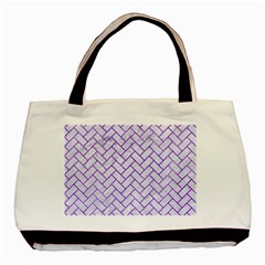 Brick2 White Marble & Purple Watercolor (r) Basic Tote Bag (two Sides) by trendistuff
