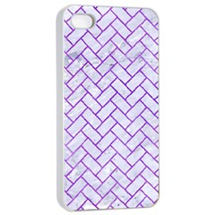Brick2 White Marble & Purple Watercolor (r) Apple Iphone 4/4s Seamless Case (white) by trendistuff