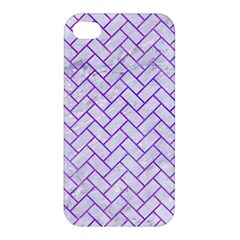 Brick2 White Marble & Purple Watercolor (r) Apple Iphone 4/4s Hardshell Case by trendistuff