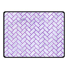 Brick2 White Marble & Purple Watercolor (r) Double Sided Fleece Blanket (small)  by trendistuff