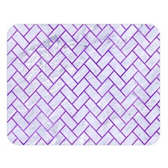 Brick2 White Marble & Purple Watercolor (r) Double Sided Flano Blanket (large)  by trendistuff