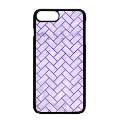 Brick2 White Marble & Purple Watercolor (r) Apple Iphone 8 Plus Seamless Case (black)