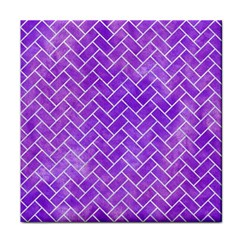 Brick2 White Marble & Purple Watercolor Tile Coasters by trendistuff