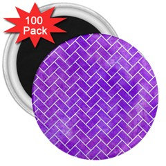 Brick2 White Marble & Purple Watercolor 3  Magnets (100 Pack)