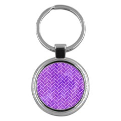 Brick2 White Marble & Purple Watercolor Key Chains (round)  by trendistuff
