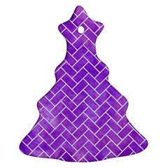Brick2 White Marble & Purple Watercolor Christmas Tree Ornament (two Sides) by trendistuff