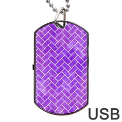 Brick2 White Marble & Purple Watercolor Dog Tag Usb Flash (one Side) by trendistuff