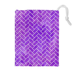Brick2 White Marble & Purple Watercolor Drawstring Pouches (extra Large) by trendistuff