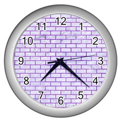 Brick1 White Marble & Purple Watercolor (r) Wall Clocks (silver)  by trendistuff