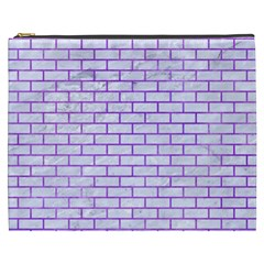 Brick1 White Marble & Purple Watercolor (r) Cosmetic Bag (xxxl)  by trendistuff