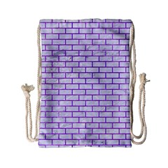 Brick1 White Marble & Purple Watercolor (r) Drawstring Bag (small) by trendistuff