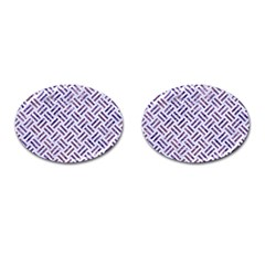 Woven2 White Marble & Purple Marble (r) Cufflinks (oval) by trendistuff