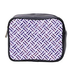 Woven2 White Marble & Purple Marble (r) Mini Toiletries Bag 2 Side by trendistuff