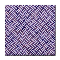Woven2 White Marble & Purple Marble Tile Coasters by trendistuff