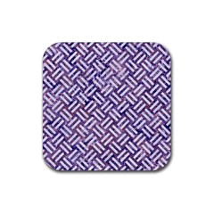 Woven2 White Marble & Purple Marble Rubber Coaster (square)