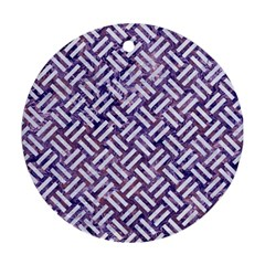 Woven2 White Marble & Purple Marble Round Ornament (two Sides) by trendistuff