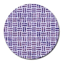 Woven1 White Marble & Purple Marble (r) Round Mousepads by trendistuff