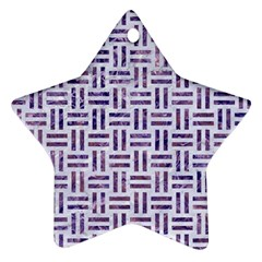Woven1 White Marble & Purple Marble (r) Star Ornament (two Sides) by trendistuff