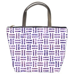 Woven1 White Marble & Purple Marble (r) Bucket Bags by trendistuff
