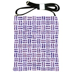 Woven1 White Marble & Purple Marble (r) Shoulder Sling Bags by trendistuff