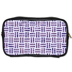Woven1 White Marble & Purple Marble (r) Toiletries Bags by trendistuff