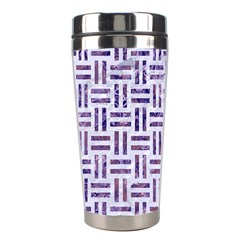 Woven1 White Marble & Purple Marble (r) Stainless Steel Travel Tumblers by trendistuff
