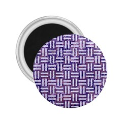 Woven1 White Marble & Purple Marble 2 25  Magnets by trendistuff
