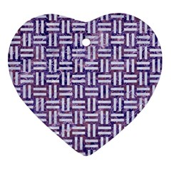 Woven1 White Marble & Purple Marble Ornament (heart) by trendistuff